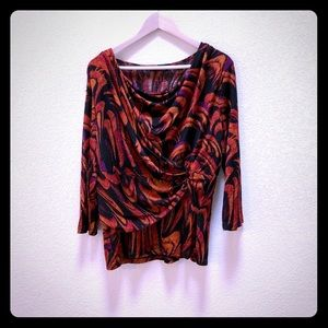 Investments feather print crossover top